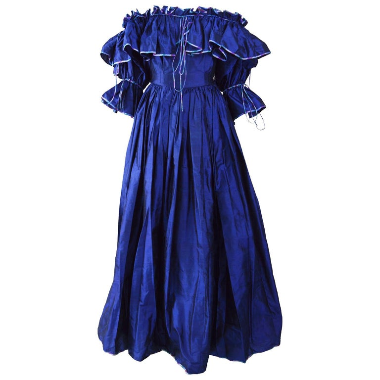 Annabelinda 1970s Silk Romantic Evening Dress For Sale