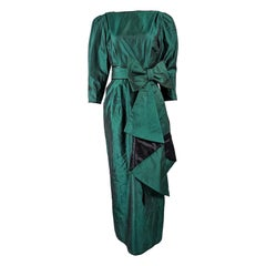 Annabelinda Vintage 1980s Green Taffeta Maxi Evening Dress