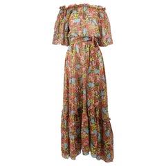 Annacat 1970s Vintage Floral Printed Bohemian Cotton Voile Boho Maxi Dress