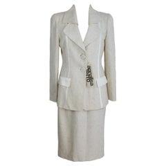 Annalisa Ferro White Silver Wool Cotton Elegant Suit Skirt