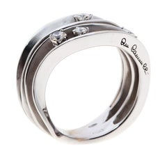 Annamaria Cammilli Dune 4 Diamonds 18k White Gold Ring Size 54