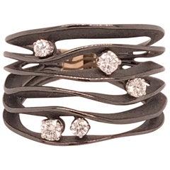 "Annamaria Cammilli ""Dune"" Ring with Five Diamonds in 18 Karat Black Lava Gold"