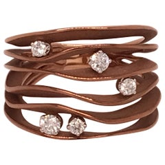 "Annamaria Cammilli ""Dune"" Ring with Five Diamonds in 18K Brown Chocolate Gold"