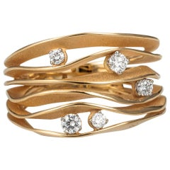 "Annamaria Cammilli ""Dune"" Ring with Five Diamonds in 18K Orange Apricot Gold"