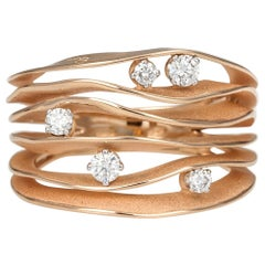 "Annamaria Cammilli ""Dune"" Ring with Five Diamonds in 18K Pink Champagne Gold"
