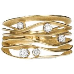Annamaria Cammilli Dune Ring with Five Diamonds in 18K Yellow Lemon Bamboo Gold
