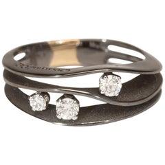 "Annamaria Cammilli ""Dune"" Ring with Three Diamonds in 18 Karat Black Lava Gold"