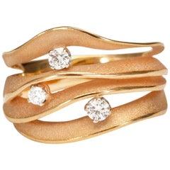 "Annamaria Cammilli ""Dune Royal"" Ring with Diamonds in 18 Karat Champagne Gold"