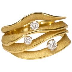 "Annamaria Cammilli ""Dune Royal"" Ring with Diamonds in 18 Karat Lemon Bamboo"