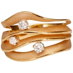"Annamaria Cammilli ""Dune Royal"" Ring with Diamonds in 18K Orange Apricot Gold"