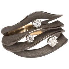 "Annamaria Cammilli ""Dune Royal"" Ring with Three Diamonds in 18K Black Lava Gold"
