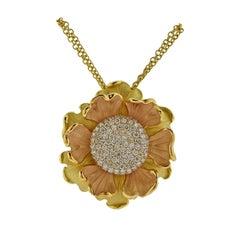 Annamaria Cammilli Lirika Diamond Gold Flower Pendant Necklace