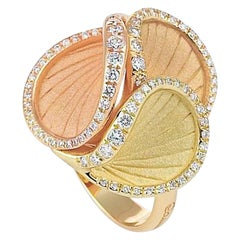 "Annamaria Cammilli ""Musa"" Ring with Diamonds in Three Colors of 18 Karat Gold"