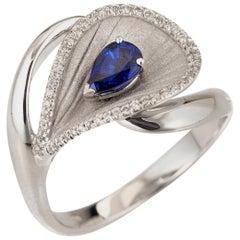 "Annamaria Cammilli ""Premiere"" Ring with a Blue Sapphire in 18 Karat White Gold"