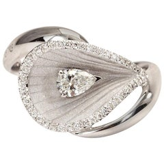 "Annamaria Cammilli ""Premiere"" Ring with a Pear Shaped Diamond in 18 Karat Gold"