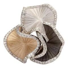 "Annamaria Cammilli ""Sultana"" Ring with Diamonds in Three Shades of 18 Karat Gold"