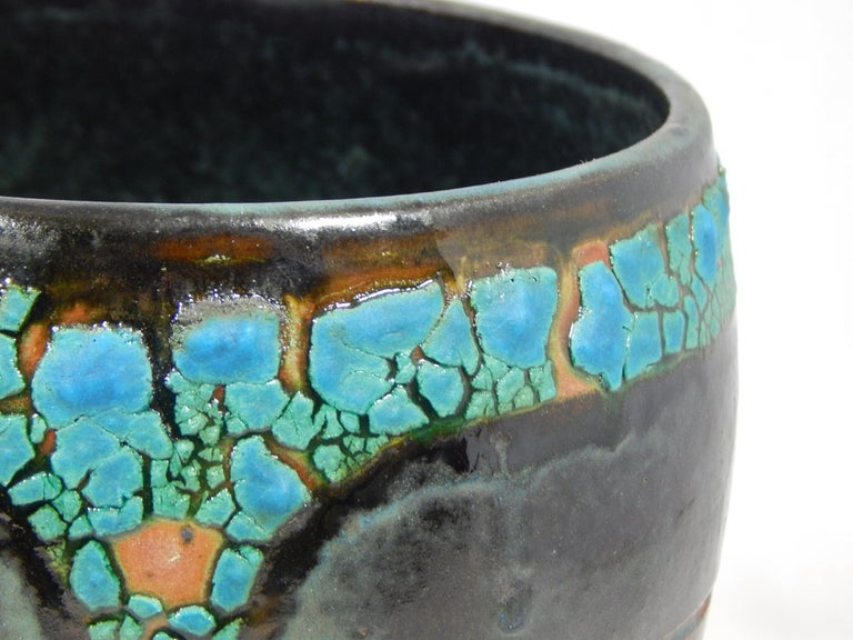 Wheel thrown Annandale earthenware vessel by ceramicist Andrew Wilder. This is a one of a kind object made in the ancient way- by hand in a small artisanal pottery. In this series Wilder explores the application of lichen under glazes to achieve