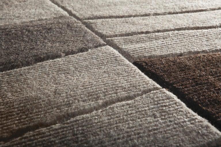 Modern Annapurna Carpet, Hand Knotted, Himalayan Wool, 60 Knots, Bartoli Design For Sale