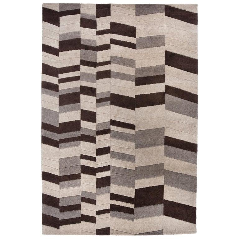 Annapurna Carpet, Hand Knotted, Himalayan Wool, 60 Knots, Bartoli Design For Sale