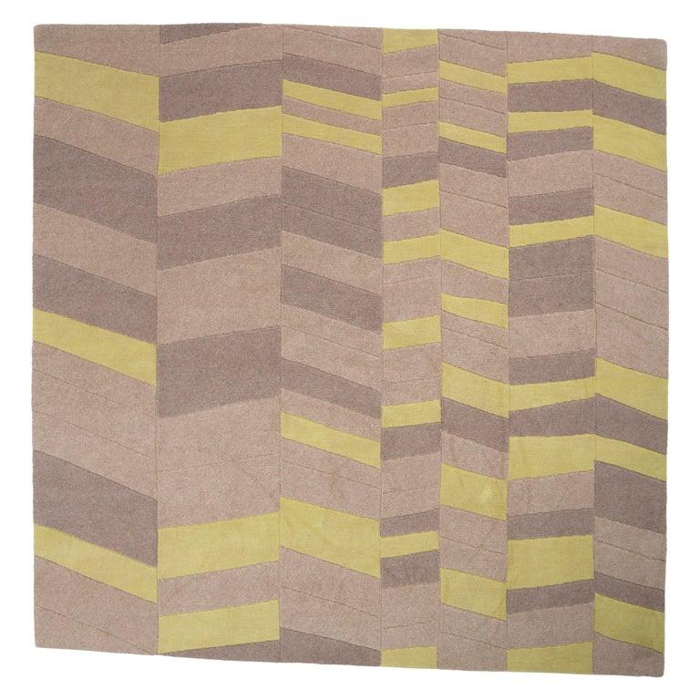 Annapurna Green Carpet, Hand Knot, Himalayan Wool, 60 Knots, Bartoli Design For Sale