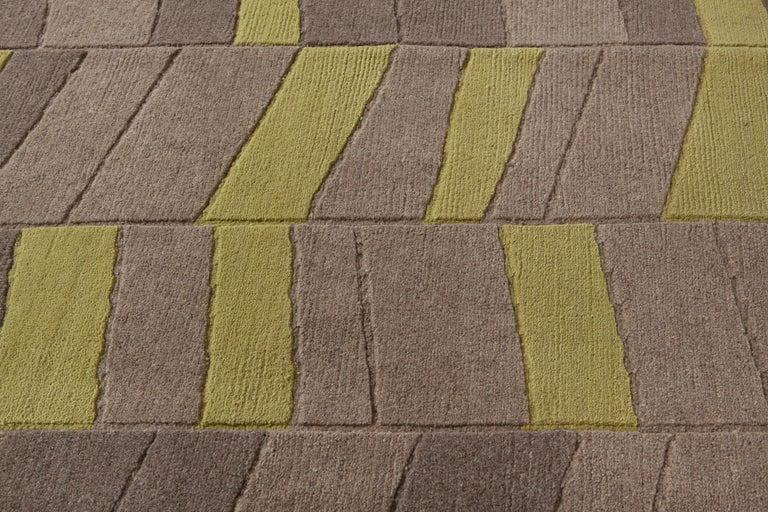 Modern Annapurna Green Carpet, Hand Knot, Himalayan Wool, 60 Knots, Bartoli Design For Sale