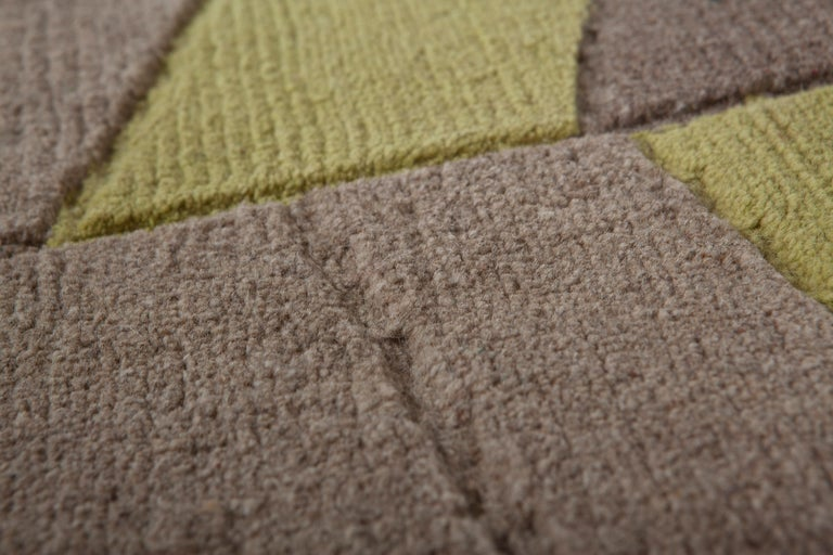 Nepalese Annapurna Green Carpet, Hand Knot, Himalayan Wool, 60 Knots, Bartoli Design For Sale