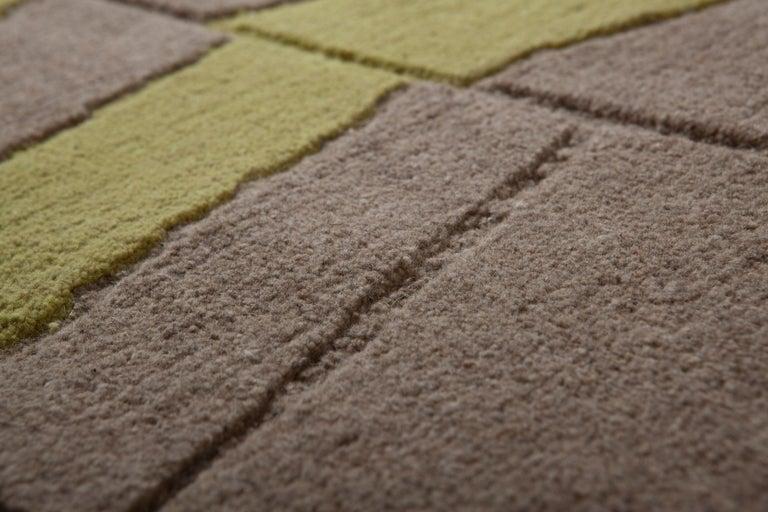 Hand-Knotted Annapurna Green Carpet, Hand Knot, Himalayan Wool, 60 Knots, Bartoli Design For Sale