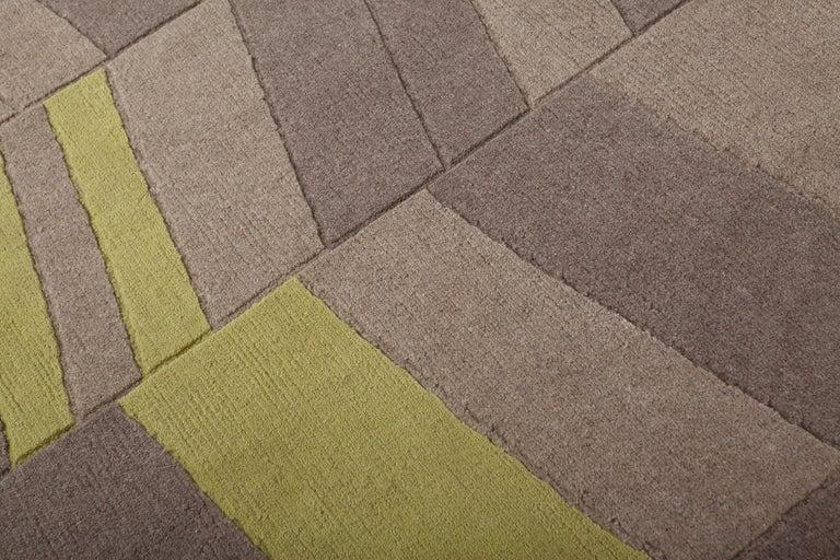 Contemporary Annapurna Green Carpet, Hand Knot, Himalayan Wool, 60 Knots, Bartoli Design For Sale