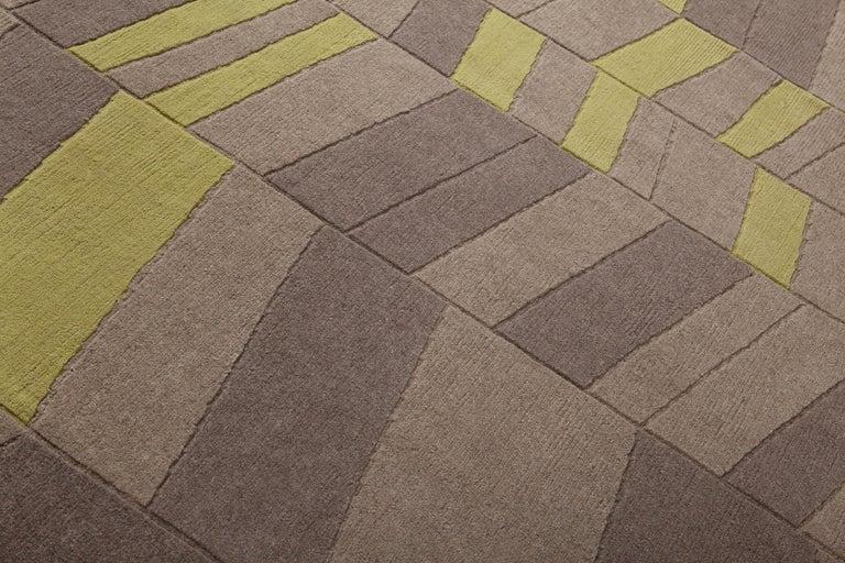 Annapurna Green Carpet, Hand Knot, Himalayan Wool, 60 Knots, Bartoli Design For Sale 2