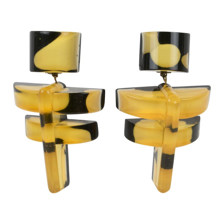 Anne and Frank Vigneri Black and Yellow Lucite Dangle Clip Earrings