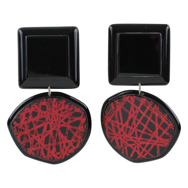 Anne and Frank Vigneri Clip on Earrings Black and Red Lucite with Texture