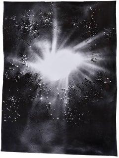 Big Bang (Abstract Camera-less Still Life Photograph in Black & White, Framed)