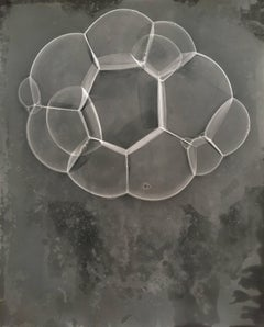 Molecule (Abstract Camera-less Still Life Photograph of Grey Bubbles, Framed)