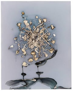 Wasted Flowers: Abstract Camera-less Still Life Photograph in Periwinkle & Beige