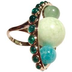 Anne Bourat Amazonite Jade Chrysoprase Emeralds  11 Grams White Gold  Metric 54