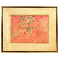Anne Brigadier Mid-Century Modern 'Rosette Glow' Mixed-Media Collage Painting