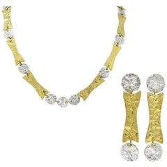 Anne Dick Vintage Sterling Silver Brutalist Link Necklace Earring Set circa 1970