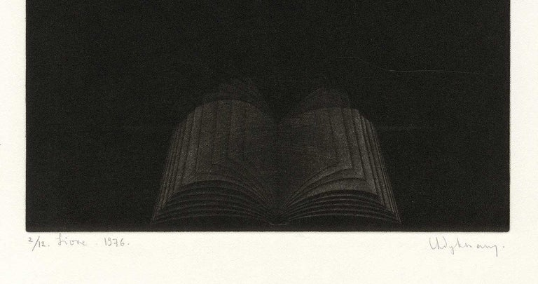 Livre  (An opening to the book of knowledge) - Black Still-Life Print by Anne Dykmans