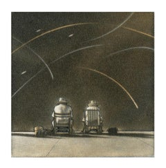 Magic (these two figures seated on a beach beneath an active sky evoke emotion)