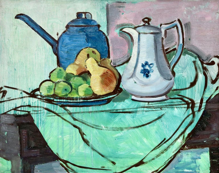 The Green Tablecloth - 20th Century Oil, Still Life of Fruit & Jugs by A E Rice, Leighton Fine Art Ltd