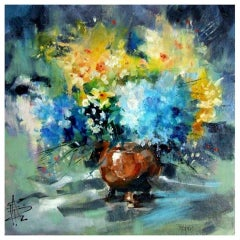 Anne Farrall Doyle, Hydrangeas and Narcissi, Original Still Life Floral Painting