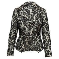 Anne Fontaine Black & White Lace Moto Jacket