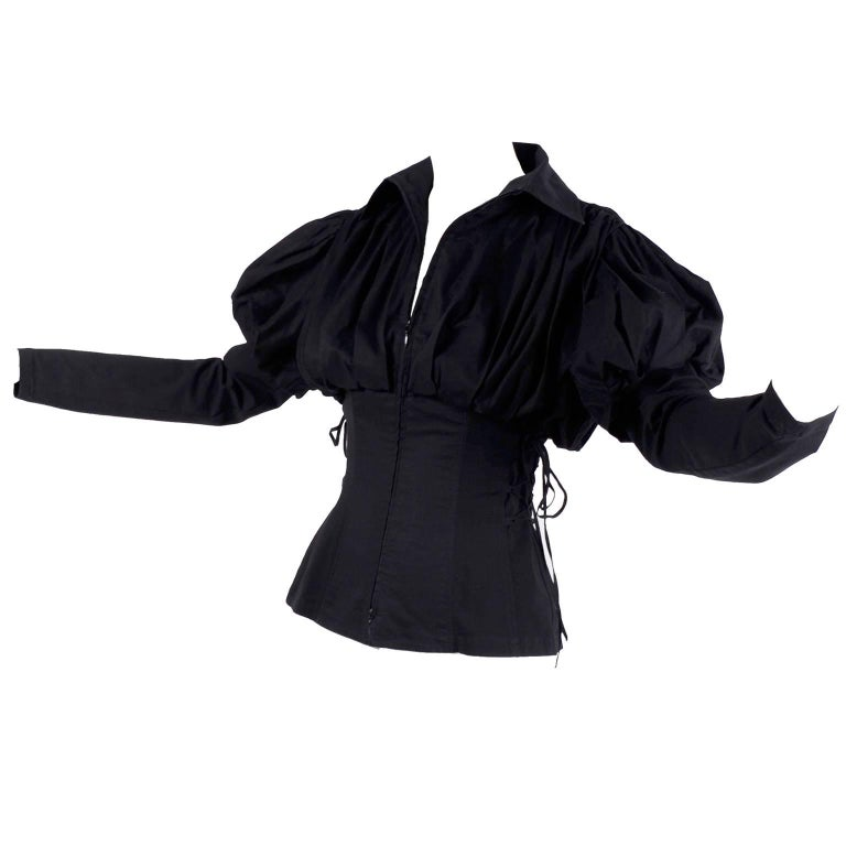 97aac347897fb Anne Fontaine Blouse in Black Cotton Gothic Victorian Style w  Laces up  Sides 40 For