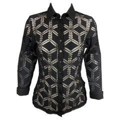 ANNE FONTAINE Size 8 Black Cut Out Polyamide Buttoned Paradise Blouse