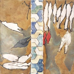 Configurations #3 (Abstract Ceramic Tile Painting of White Birds on Light Brown)