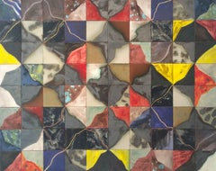 Different (Abstract Ceramic Tile Painting in Red, Blue, Yellow, White & Black)