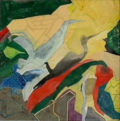 Either (Colorful Gestural Geometric Abstract Painting on Paper) by Anne Francey
