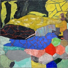 Instead (Colorful Gestural Geometric Abstract Painting on Panel)