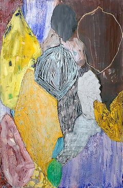 One and Many (Abstract Expressionist Still Life Painting of Blue & Yellow Flora)