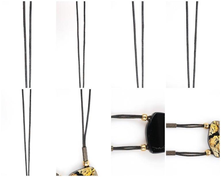 ANNE & FRANK VIGNERI Black Gold Metallic Beaded Lucite Art Pendant Cord Necklace For Sale 7